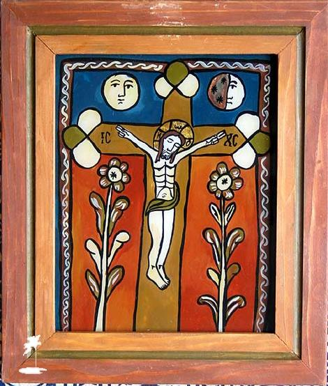 Crucifixion with flowers