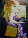 Sitting Pretty - Mixism (mixed media collection) - Marilyn Comparetto For sale: original painting, unframed