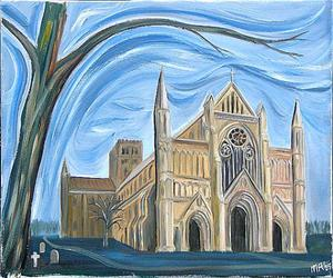 St Albans Abbey from northwest, bare tree - Michael Roscoe
